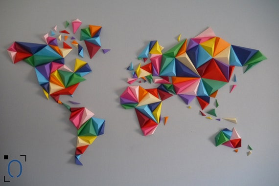 kit papercraft world map 3d multicolor s m l size wall etsy