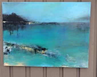True Blue original abstract acrylic painting landscape seascape canvas art