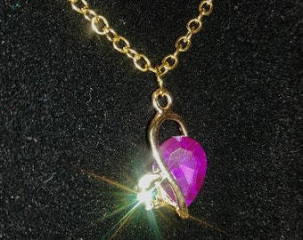 Purple & Gold Heart Necklaces