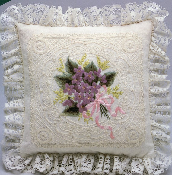 Elsa Williams Crewel Embroidery Violets On Illusion Lace Etsy