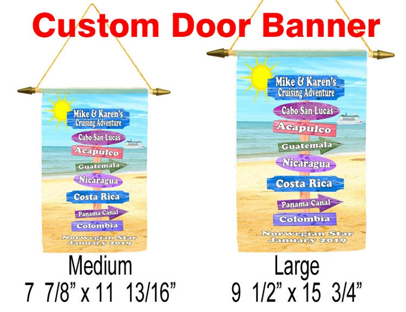 date... ship Cruise ship door banner Customize with your names Custom door banner available in 2 sizes
