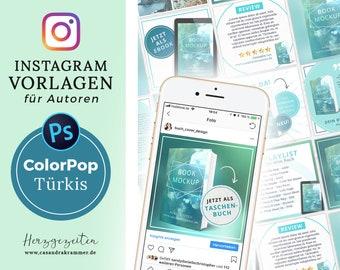 Instagram Vorlagen für Autoren - ColorPop TÜRKIS