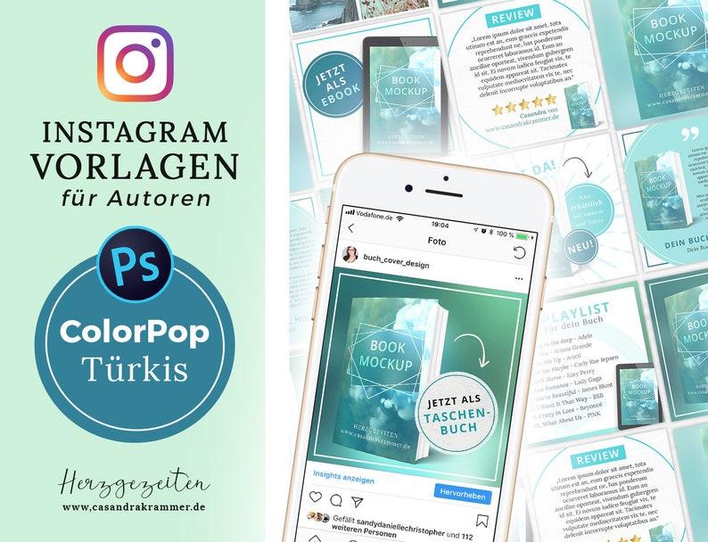Instagram Vorlagen für Autoren  ColorPop TÜRKIS image 0