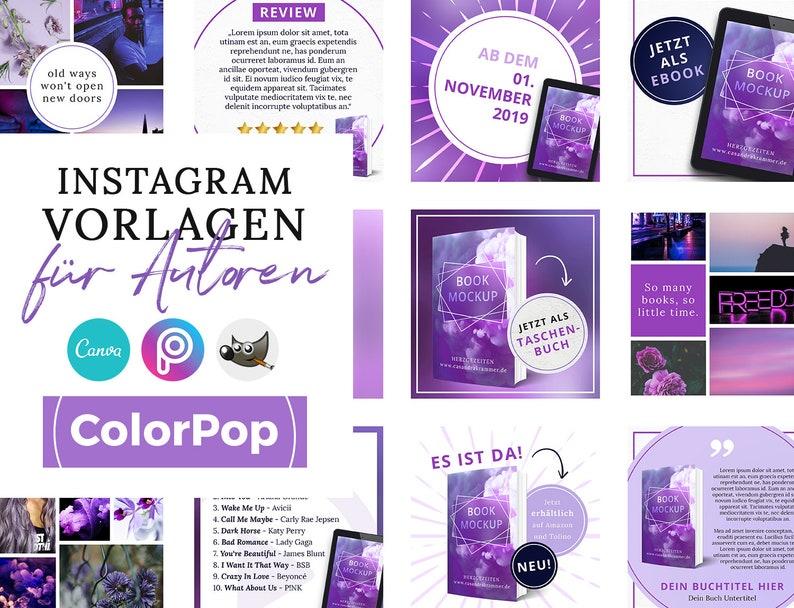 Instagram Vorlagen für Autoren ColorPop LILA  PNG 3D Cover image 0