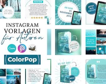 Instagram Vorlagen für Autoren, ColorPop Türkis ( PNG, 3D Cover, Canva, GIMP, PicsArt)