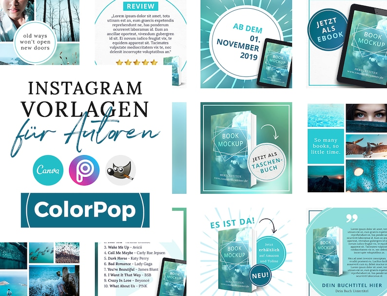 Instagram Vorlagen für Autoren ColorPop Türkis  PNG 3D image 0