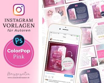 Instagram Vorlagen für Autoren - ColorPop PINK