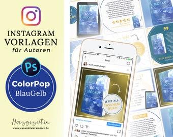 Instagram Vorlagen für Autoren - ColorPop BLAU GELB