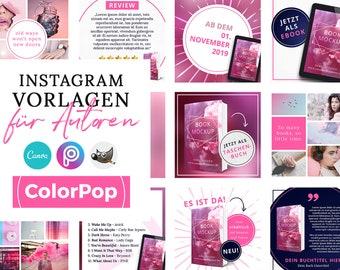 Instagram Vorlagen für Autoren, ColorPop PINK ( PNG, 3D Cover, Canva, GIMP, PicsArt)
