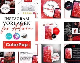Instagram Vorlagen für Autoren, ColorPop ROT ( PNG, 3D Cover, Canva, GIMP, PicsArt)