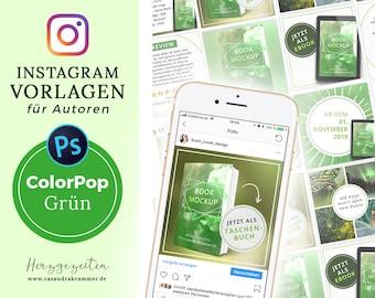 Instagram Vorlagen für Autoren - ColorPop GRÜN