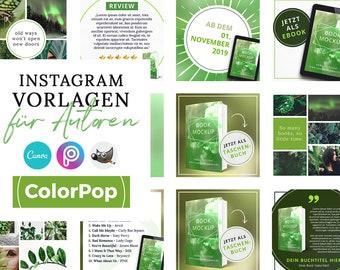 Instagram Vorlagen für Autoren, ColorPop GRÜN ( PNG, 3D Cover, Canva, GIMP, PicsArt)