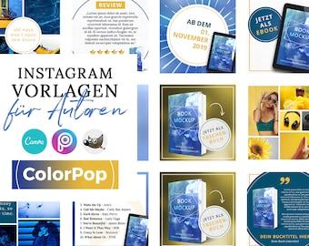 Instagram Vorlagen für Autoren, ColorPop BLAU ( PNG, 3D Cover, Canva, GIMP, PicsArt)