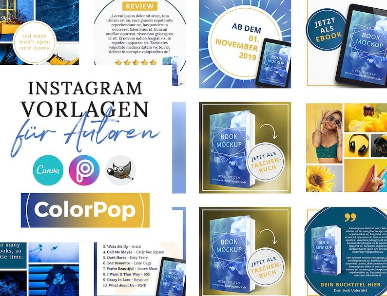 Instagram Vorlagen für Autoren ColorPop BLAU  PNG 3D Cover image 0