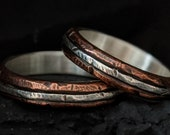 Sterling Silver Copper Rings Set Textured Silver Inlay Wedding Engagement Anniversary Bands Matching Rings Set | Alder Set of Rings in 4-5mm
