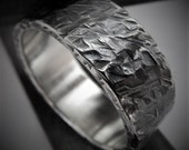 Nuphar 7-8mm Wide - Mens Rustic Wedding Ring Sterling Silver Band Mens Gift