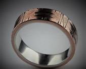 Sycamore 6-7mm Wide - Mens Rustic Wedding Ring Copper and Sterling Silver Band Mens Gift