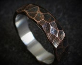 Elm 6-7mm Wide - Mens Rustic Wedding Ring Copper and Sterling Silver Band Mens Gift