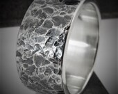 Mentha 9-10mm Wide - Mens Rustic Wedding Ring Sterling Silver Band Mens Gift