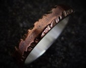 Cedar 3-4mm Wide - Mens Rustic Wedding Ring Copper and Sterling Silver Band Mens Gift