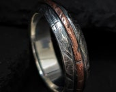Mens Rustic Wedding Ring Sterling Silver Copper Inlay Unisex Rustic Ring Wedding Bands Mens Anniversary Gift  | Ash 7-8mm Wide