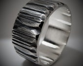 Mens Wide Sterling Silver Ring Unique Line Scored Texture Band Mens Silver Gift Oxidized Silver Ring | Azolla 9-10mm Wide