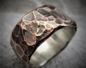 Acorus 9-10mm Wide - Mens Rustic Wedding Ring Copper and Sterling Silver Band Mens Gift