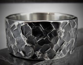 Torilis 9-10mm Wide - Mens Rustic Wedding Ring Sterling Silver Band Mens Gift