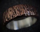Hammered Copper Ring Sterling Silver Lined Mixed Metal Unique Wedding Band Anniversary Gift Textured Mens Ring | Spruce 7-8mm Wide