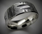 Oxalis 7-8mm Wide - Mens Rustic Wedding Ring Sterling Silver Band Mens Gift
