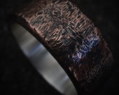 Wide Rustic Copper Ring Silver Lined Unusual Wedding Band Mens Anniversary Gift Birthday Gift Oxidized Textured Ring | Oak 9-10mm Wide