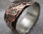Wide Hammered Copper Ring Sterling Silver Lined Rustic Wedding Ring Anniversary Band Unique Mens Gift Mixed Metal Ring | Acorus 9-10mm Wide