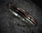 Mens Rustic Wedding Ring Sterling Silver Copper Inlay Mens Anniversary Gift Unisex Rustic Wedding Rings | Ash 4-5mm Wide