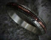 Ash 4-5mm Wide - Mens Rustic Wedding Ring Sterling Silver Inlay Band Mens Gift