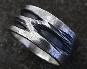 Cercis Mens Rustic Ring Wide 9-10mm Wide Texture Sterling Silver Anniversary Birthday Gift Steampunk Unusual Alternative