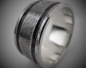 Ilex 9-10mm Wide - Mens Rustic Wedding Ring Sterling Silver Band Mens Gift