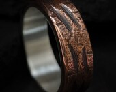 Rustic Copper Ring Mixed Metal Silver Lining Band Unusual Texture Ring Mens Anniversary Gift Oxidized Copper Band| Salix 6-7mm Wide