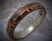 Unique Copper Ring Sterling Silver Lining Textured Finish Wedding Ring Anniversary Gift Mens Gift Mixed Metal Ring | Cedar 3-4mm Wide