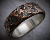Aspen 7-8mm Wide - Mens Rustic Wedding Ring Copper and Sterling Silver Band Mens Gift