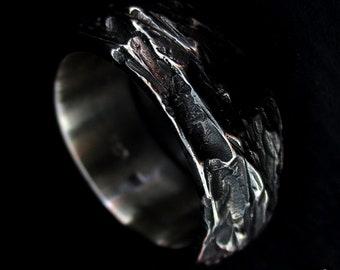 Mens Carved Silver Ring -  Mens Wedding Ring - Mens Gift Ring - Rock Texture Ring - Rugged Mens Ring - Mens Ring Size UK T /  US 9.5
