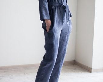 Linen loose fit jumpsuit / Women long sleeve romper / Kimono jumpsuit / Casual jumpsuit / Overalls are closed