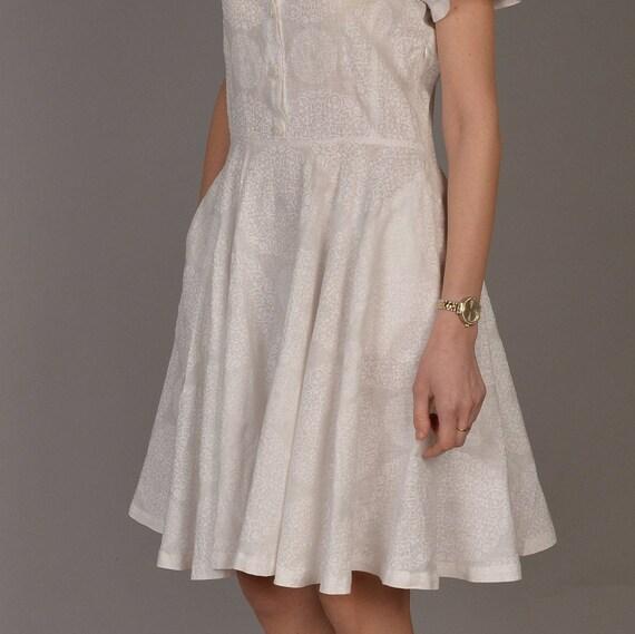 Ruffled hem linen dress White linen dress NATURAL LINEN dress Handmade by elen/'do