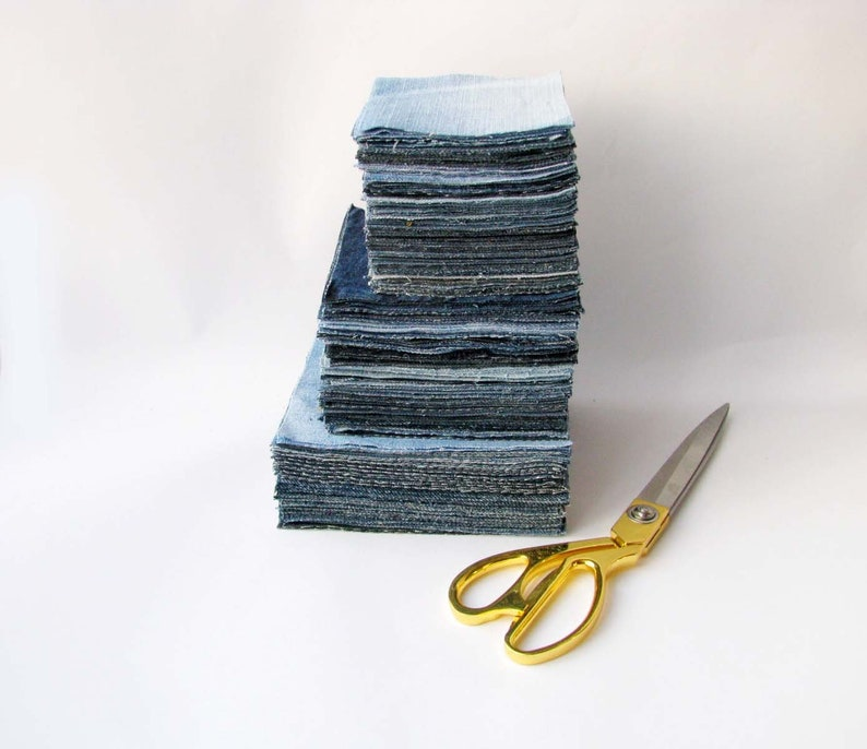 cut by measure,DIY Quilting supply DIY baby quilt Patchwork DIY Baby Quilt denim blocks pack 6 inch squares 70 pcs recycled denim mix