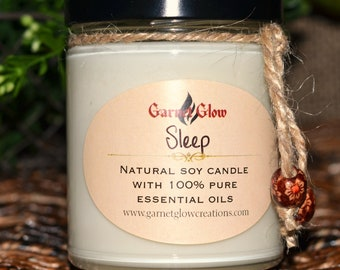 SLEEP - Natural soy wax candle scented with 100% pure essential oils (Lavender - Cedarwood)