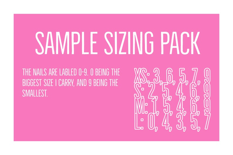 2a1fda09bff6e READY TO SHIP| Press On Nails Sample Sizing Pack| Fake Nails| Drag Nails |  Glue on Nails |Press On Nails | Coffin Nails| Stiletto Nails