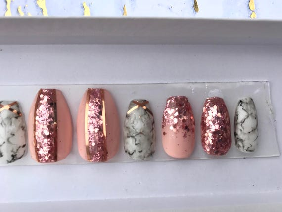 Marble And Rose Gold Glitter Fake Nails Marble Nails Etsy