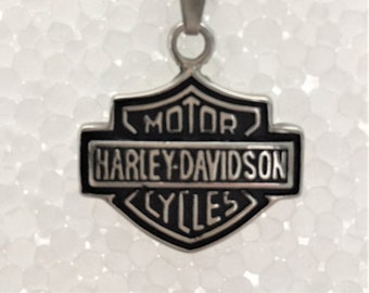Vintage Harley Davidson Pendant, Dog-tag Style Chain, Harley Davidson Necklace, Father's Day Gift,  Motorcycle Enthusiast