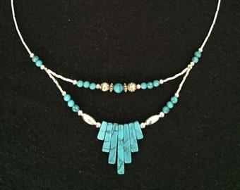 Silver Beaded Necklace, Southwestern Necklace, Tribal Necklace, Turquoise Necklace, Southwestern Style