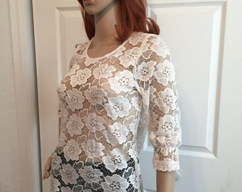 6202d7a1db5 Sheer Unlined Lace Top