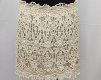 Lined Cotton Lace Pull-On Skirt